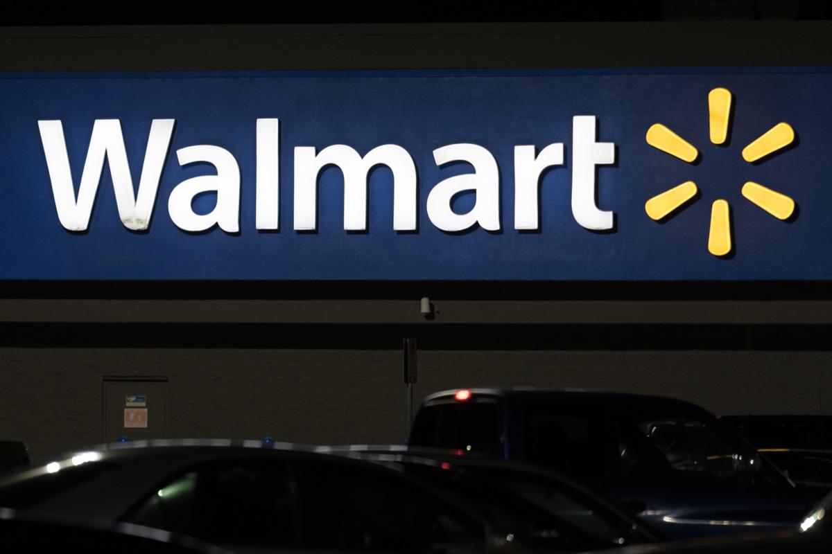 walmart storefront at night, state fact about arkansas