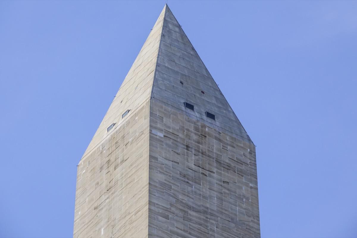 washington monument tip against blue sky