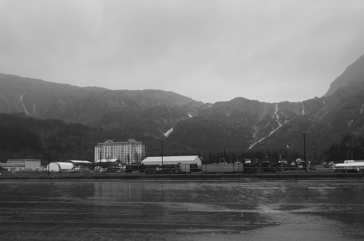 the town of whittier alaska in black and white