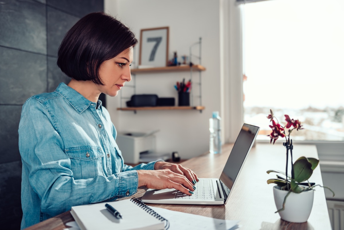 woman working from a home office