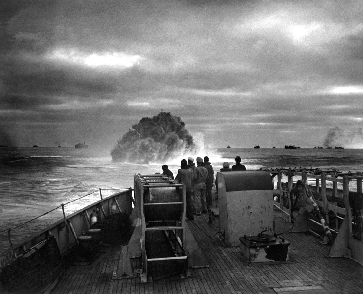 Explosion of a depth charge launched from U.S. Coast Guard Cutter Spencer. German submarine U-175 was sunk and prevented from breaking into center of a large North American convoy. April 17, 1943.