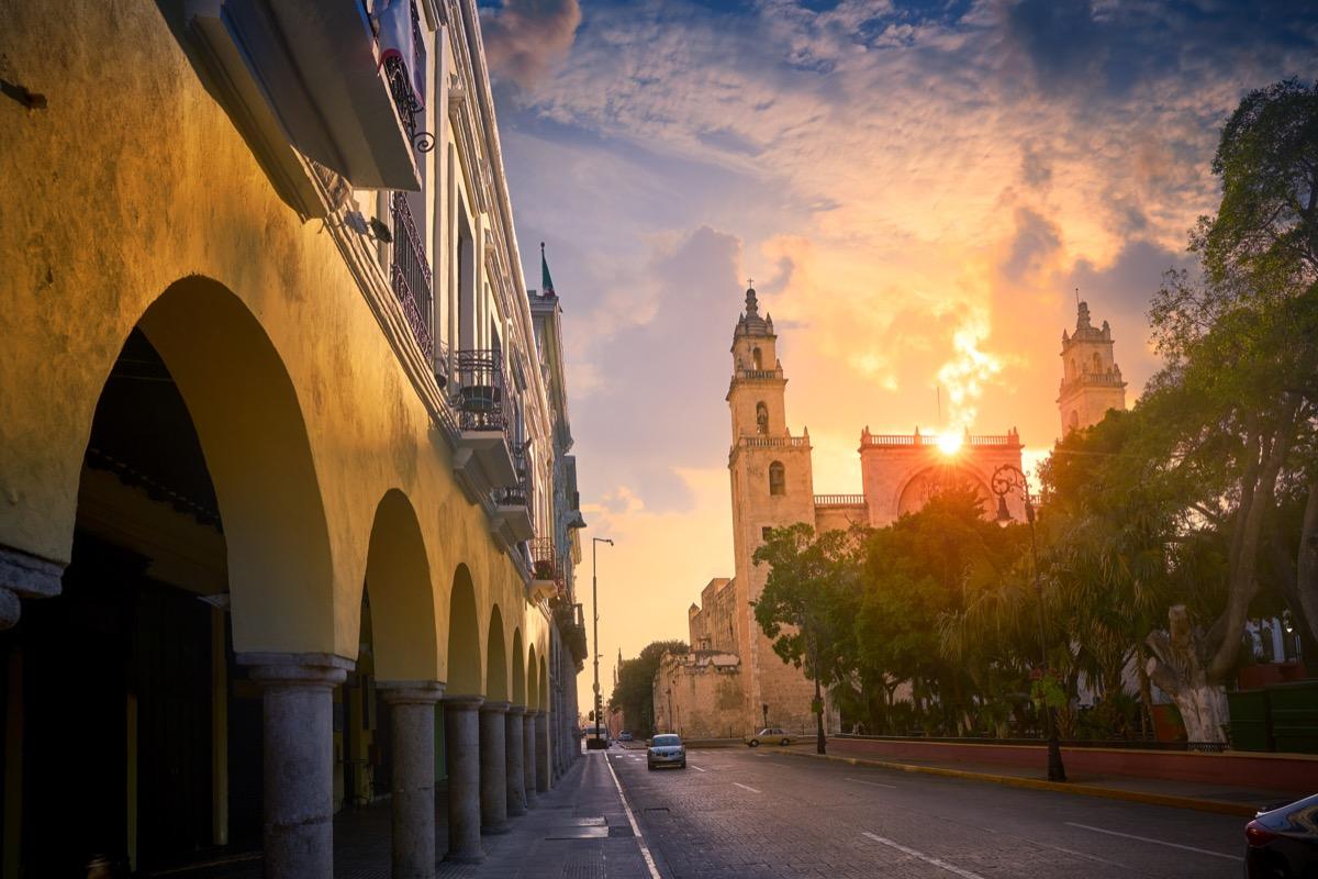 Merida San Idefonso cathedral sunrise in Yucatan Mexico