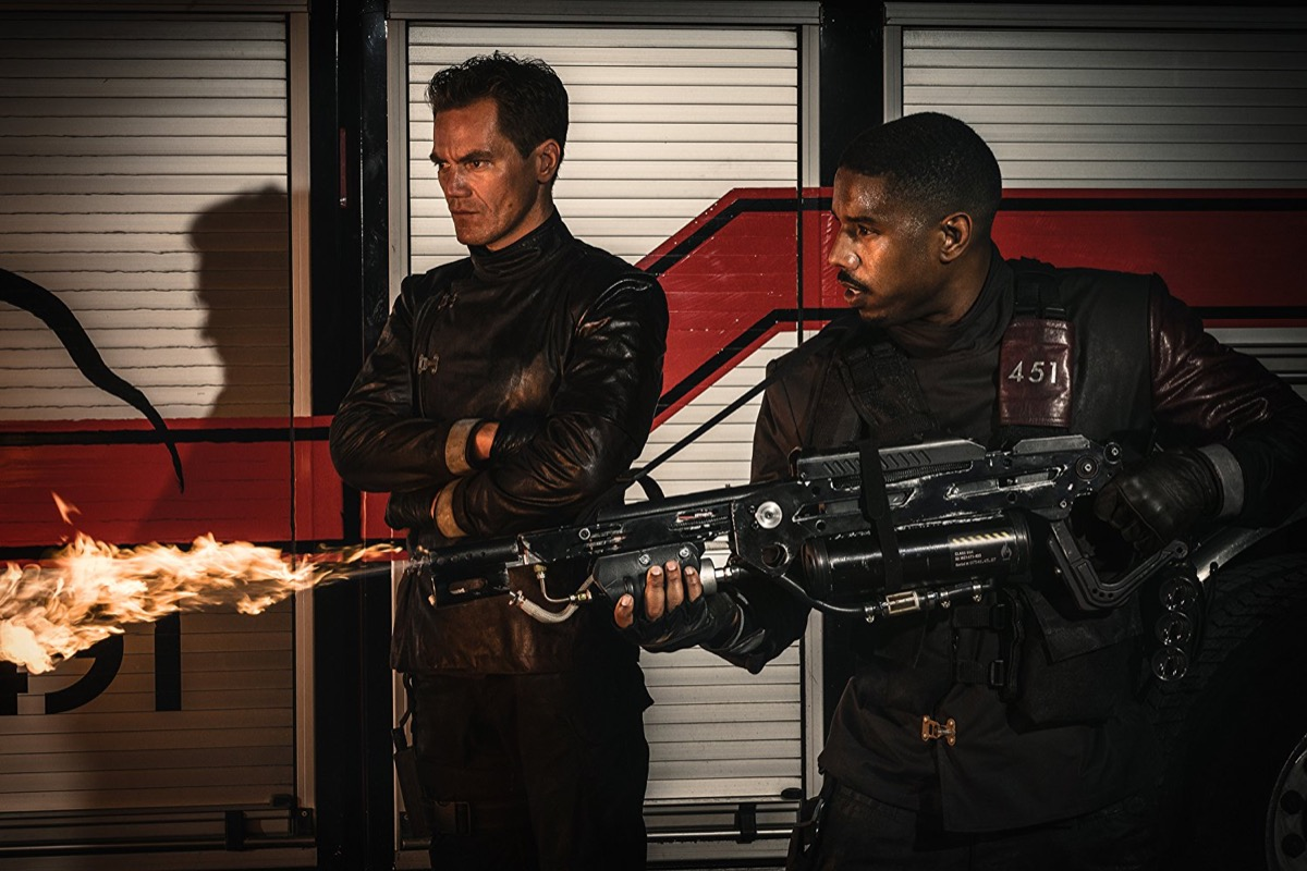 Michael B. Jordan and Michael Shannon in Fahrenheit 451 (2018)