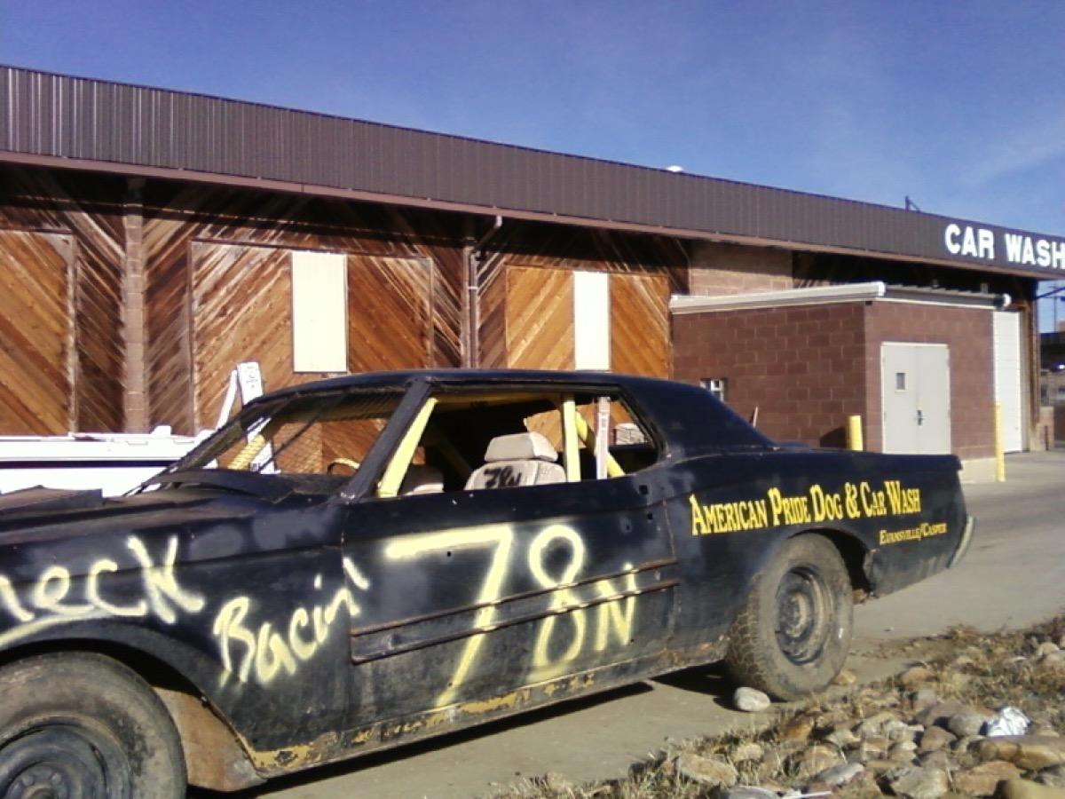 Demolition car at American Pride Dog and Car Wash in Evansville, Wyoming.