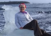grandma floats off to sea on ice throne