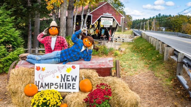 Bartlett, NH, USA - October 12, 2012: Halloween Decoration in Front of the Covered Bridge Gift Shoppe. The historic Bartlett Covered Bridge is one of 53 covered bridges left in New Hampshire. - Image