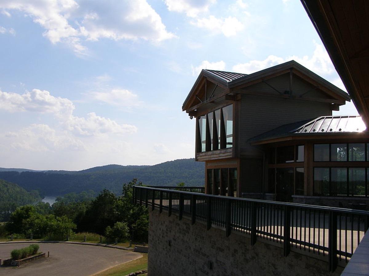 Visitors center overlooking Bull Shoals State Park, Arkansas.