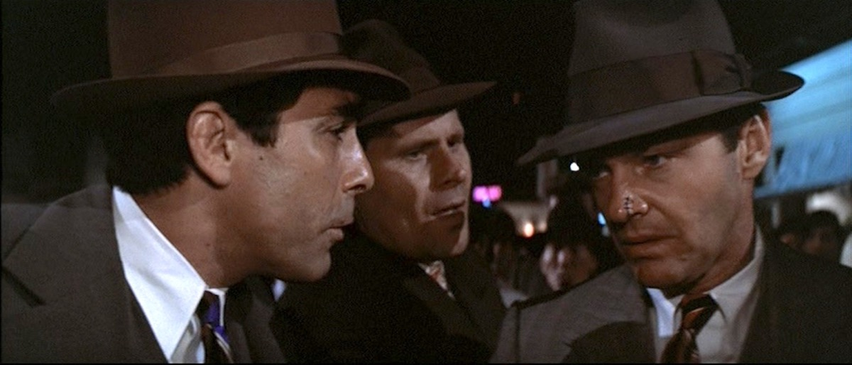 Jack Nicholson, Bruce Glover, and Perry Lopez in Chinatown (1974)