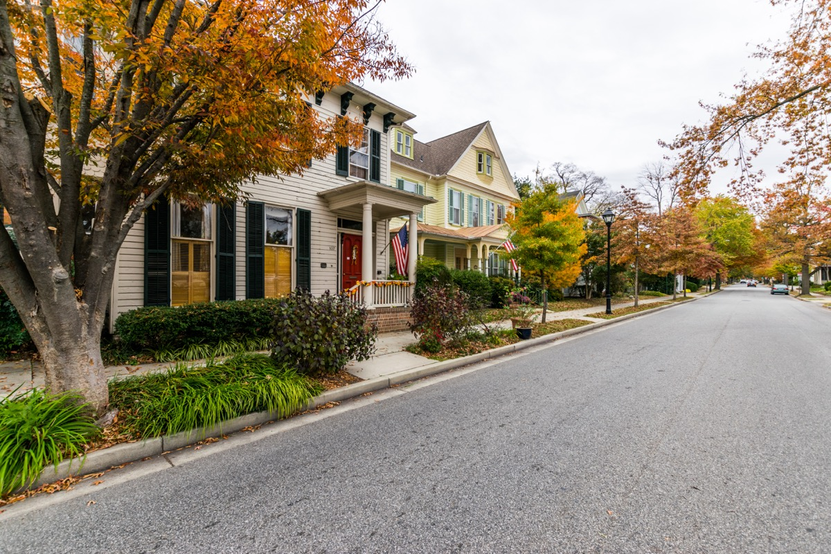 Downtown Easton during high Autumn Color in Maryland - Image