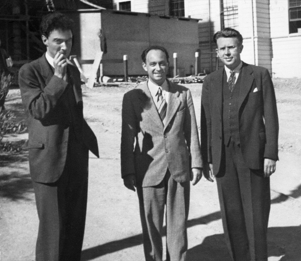 robert oppenheimer, enrico fermi, and ernest lawrence, the leaders of the manhattan project