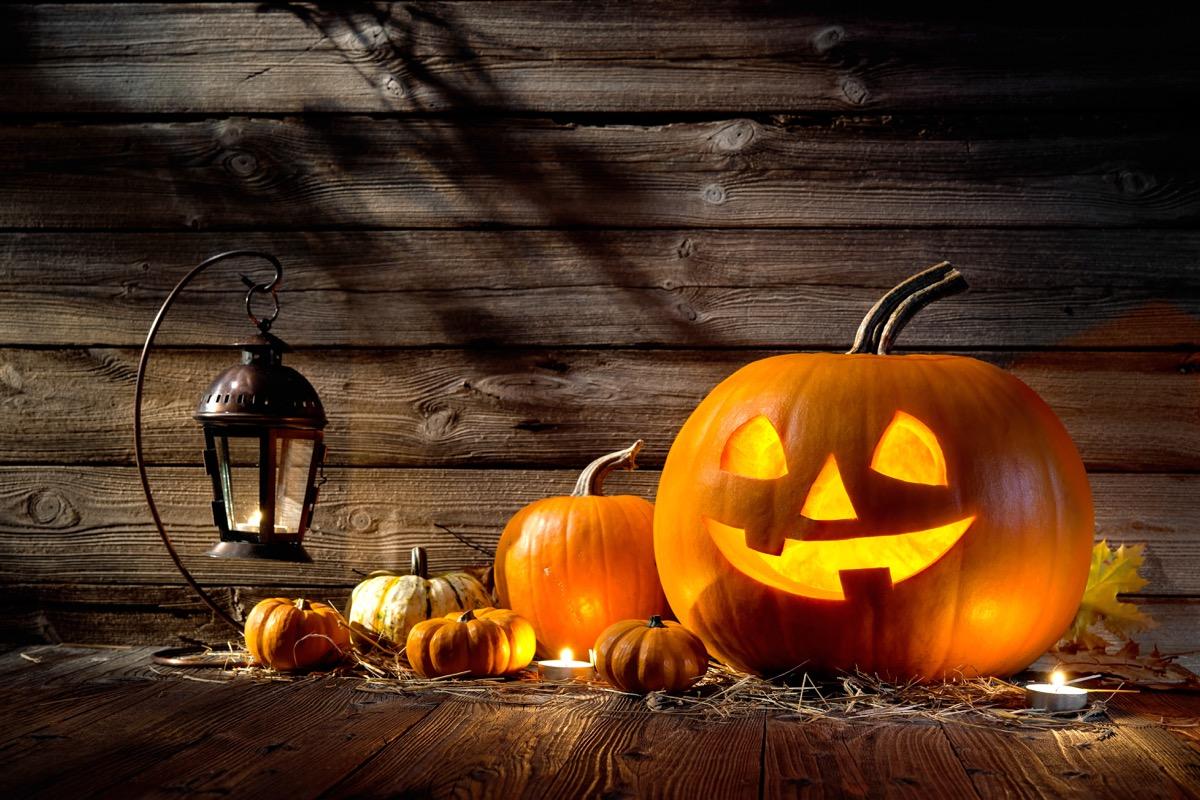 Halloween pumpkin head jack lantern on wooden background - halloween jokes, halloween puns