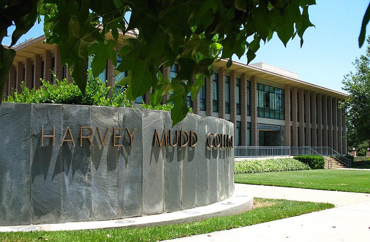 Entrance to Harvey Mudd College on Dartmouth Avenue, F.W. Olin Building in background
