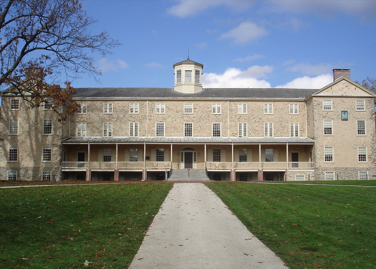 Founders Hall, the centerpiece of the Haverford College campus.