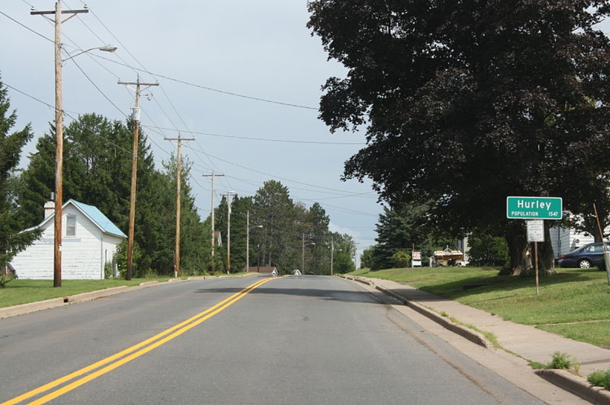 The sign for w:Hurley, Wisconsin on Wisconsin Highway 77.
