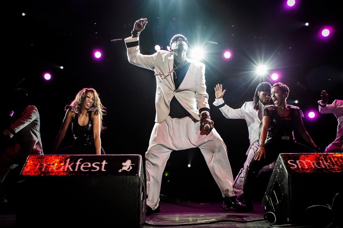 MC Hammer performing on stage