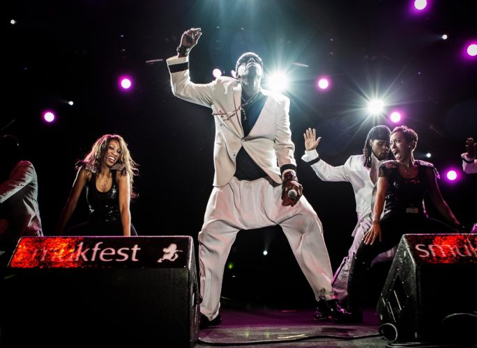 MC hammer in white pants onstage