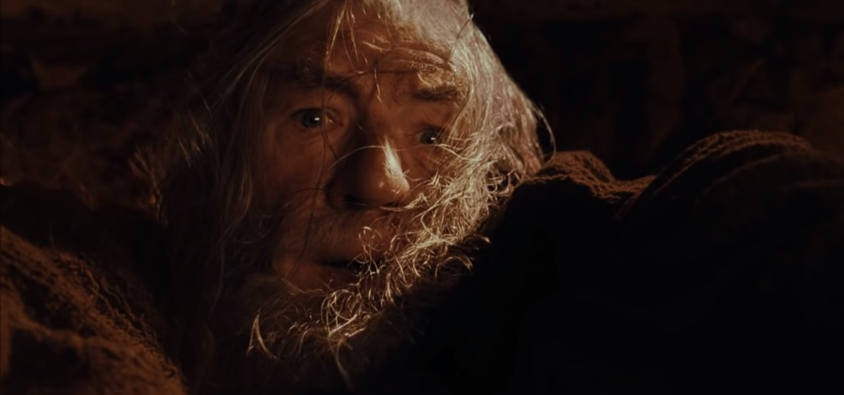 The battle between Gandalf and the Balrog of Morgoth on the bridge of Khazad-dûm, and the fall of Gandalf. (HD Blu-ray)