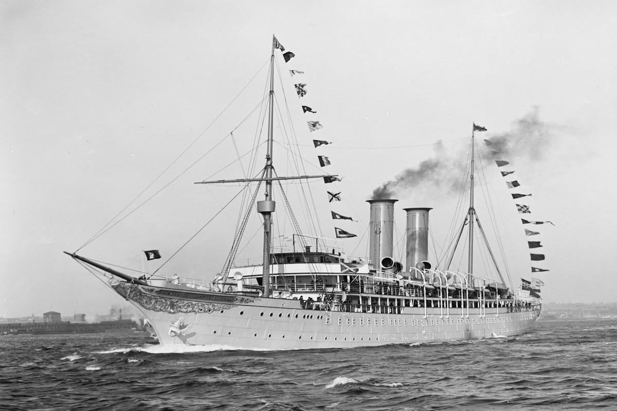 black and white image of the first ever cruise ship