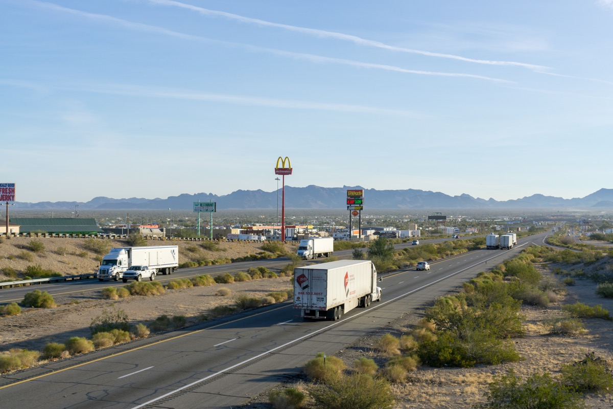 USA, AZ, QUARTZSITE - JAN 19, 2018 - Interstate 10 at the city of Quartzsite - Image