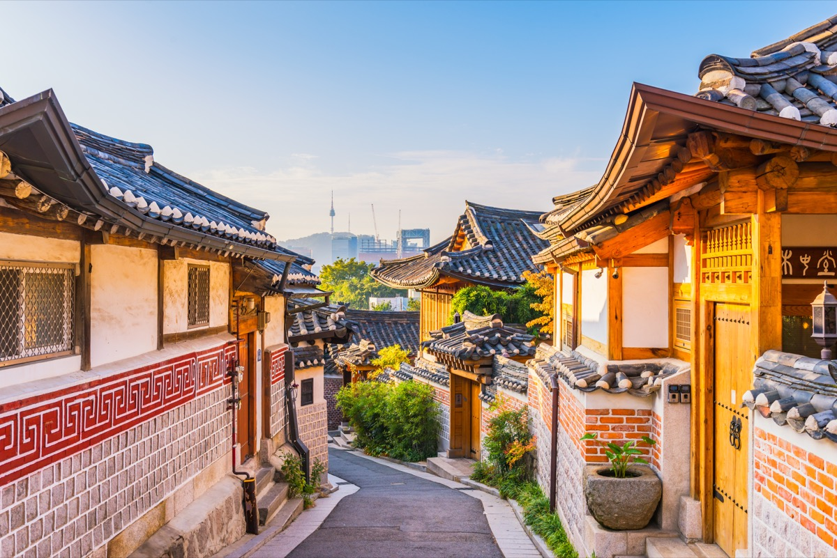 Sunrise of Bukchon Hanok Village in Seoul, South Korea. - Image