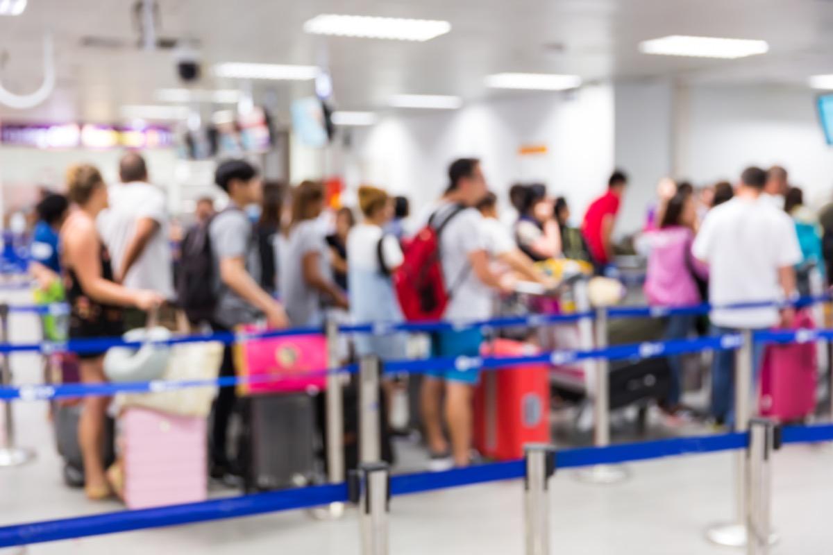 TSA line at airport