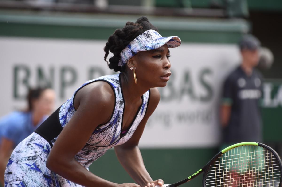 vegan celebrities - PARIS - MAY 31: Venus Williams (USA) competes against Kurumi Nara (JPN) in round 2 at The French Open on May 31, 2017 in Paris, France. - Image