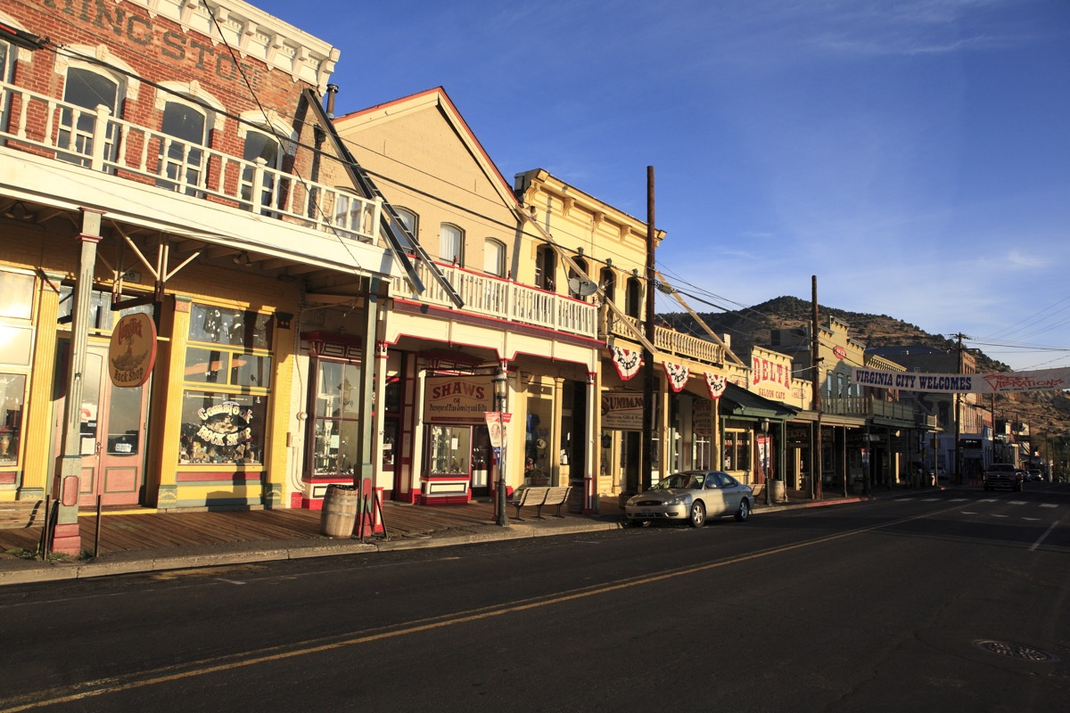 Virginia City, Nevada - Sep 17, 2017: The downtown overhang main street in the morning - Image