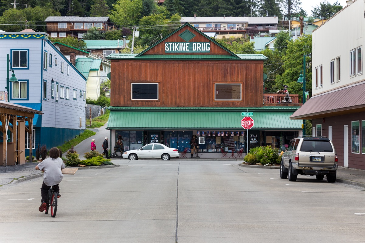 Wrangell, Alaska, USA - July 24, 2017: The Stikine Drug, a souvenirs and clothes store at the Front St in the Wrangell downtown. - Image