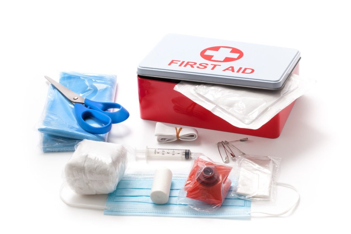 First aid kit isolated on white background - Image