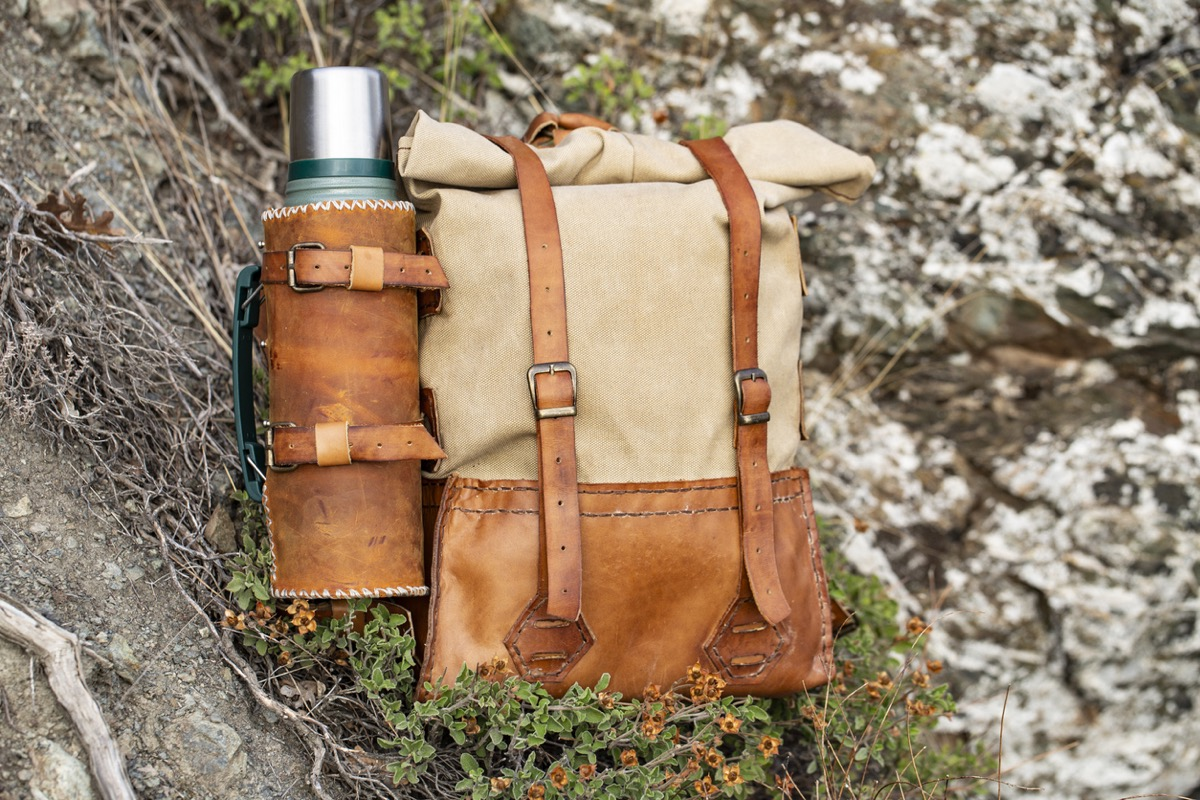 handmade canvas leather bags and thermos