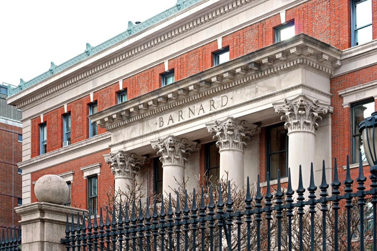 NEW YORK, USA - DEC 8, 2017: Barnard College, private women's liberal arts college. Founded in 1889, it is one of oldest women's colleges in world - Image