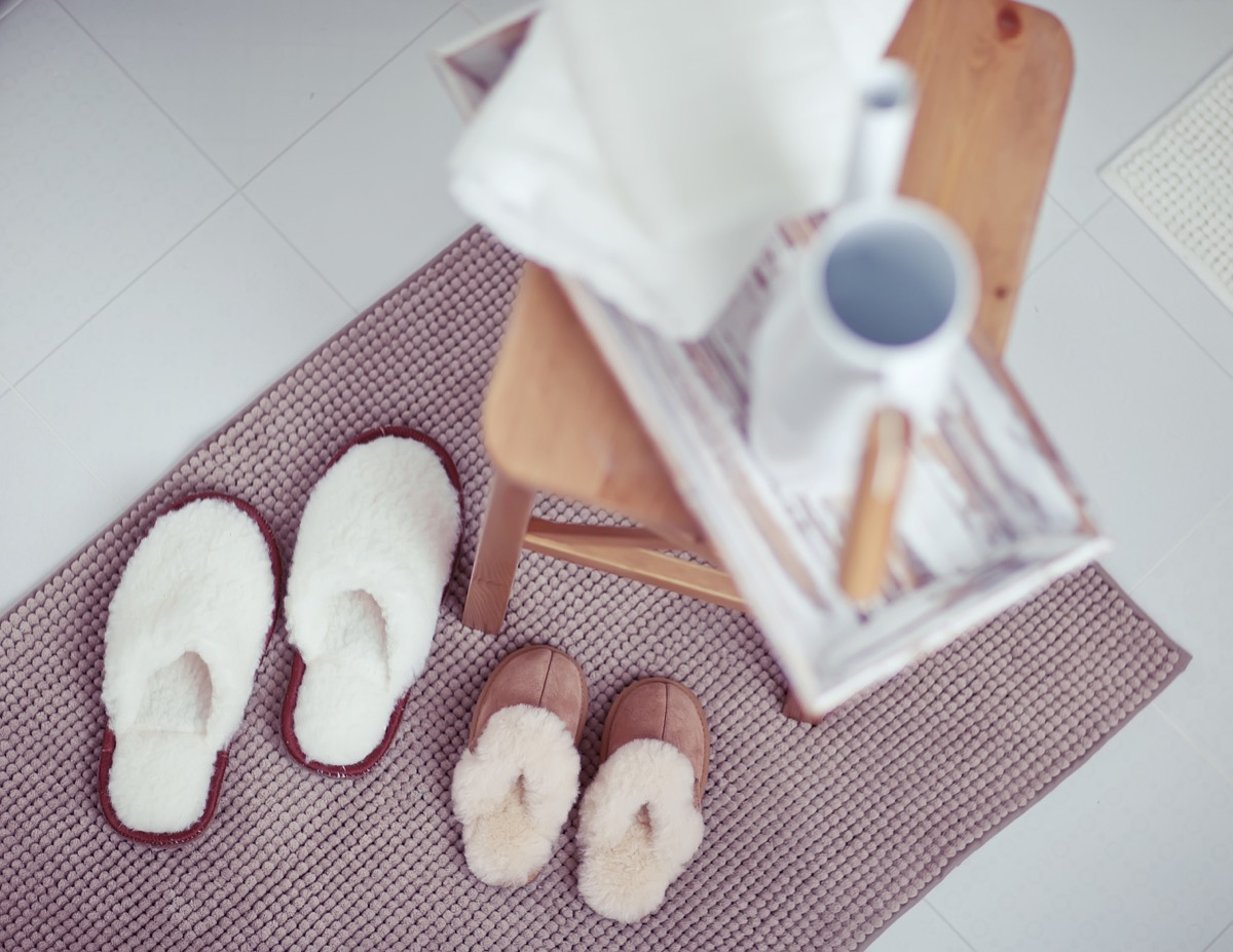 Bath mat with slippers