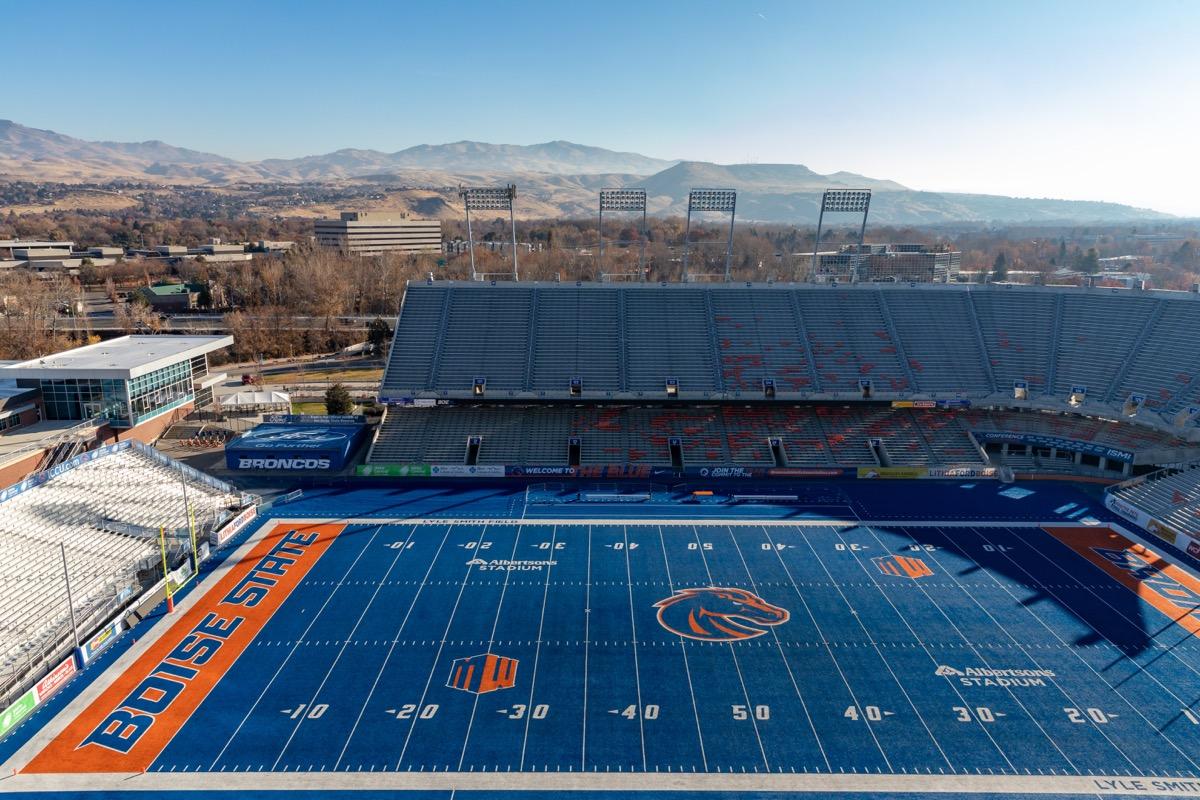 Boise State university blue football field