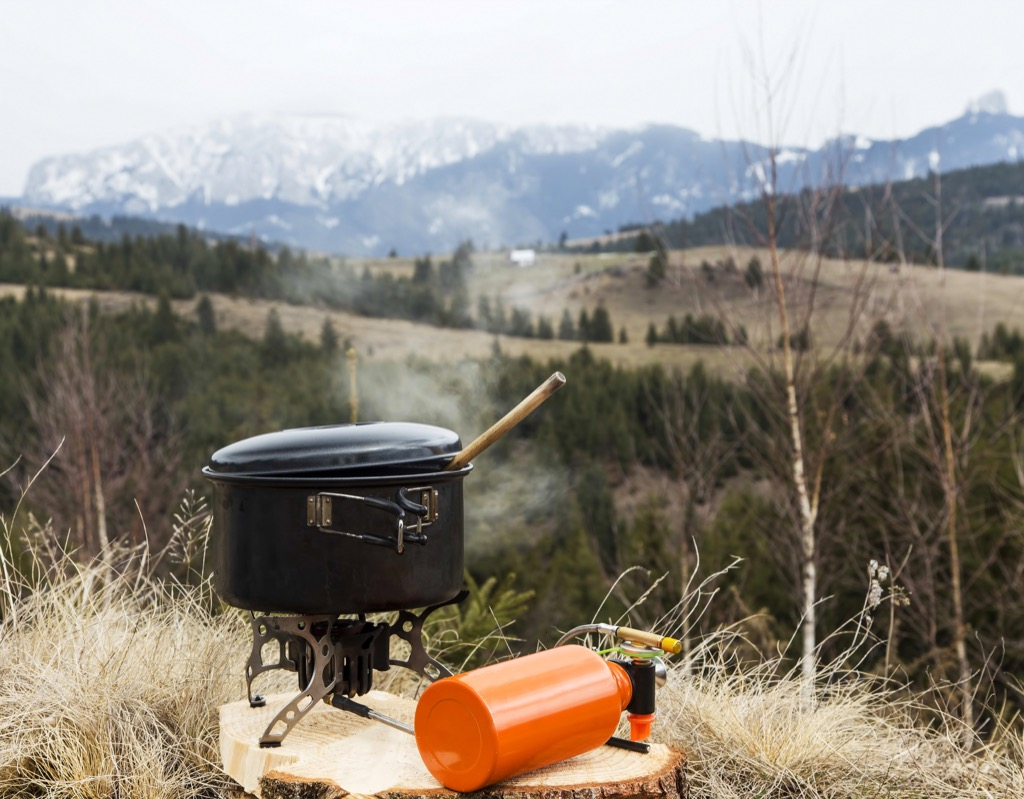 outdoor mountain stove on a campsite