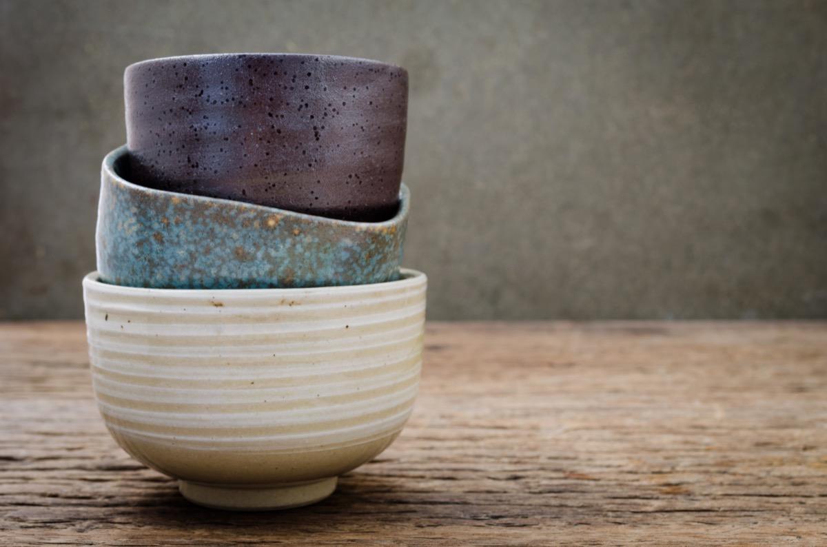 Empty bowl on rustic wood, Japanese handmade ceramic bowl, ceramic texture - Image