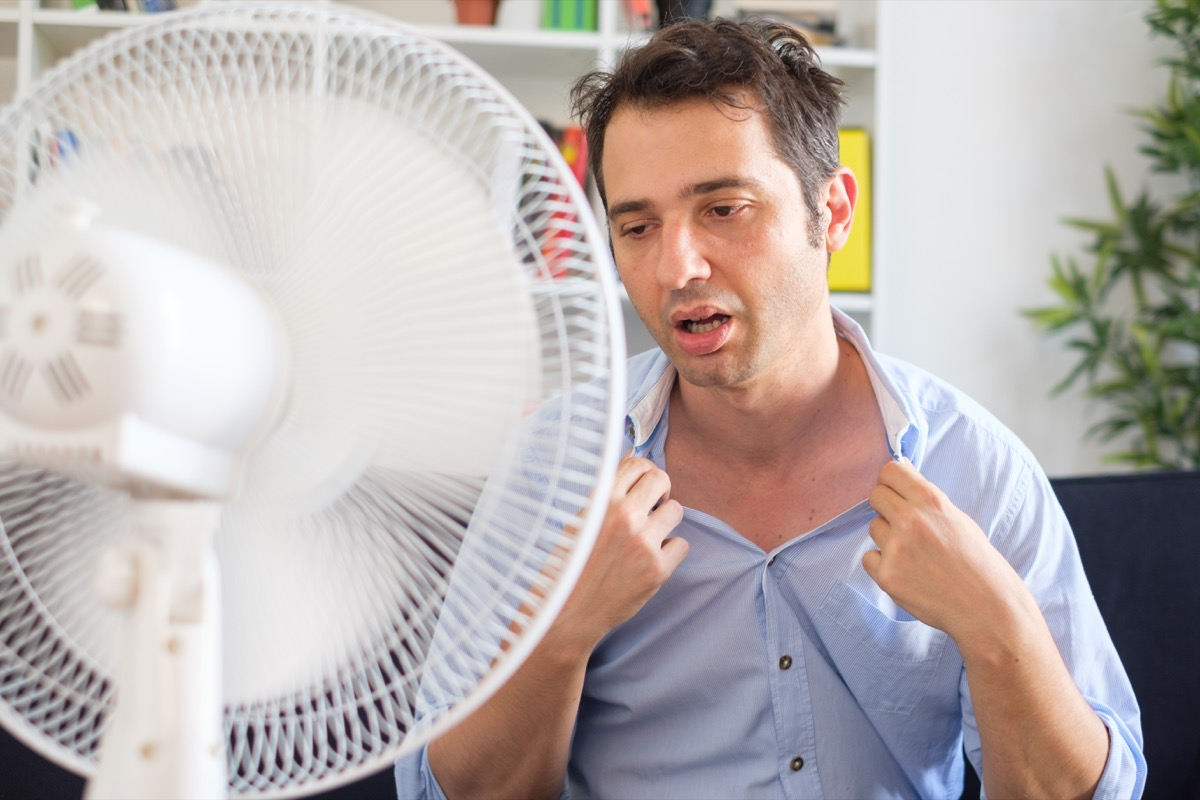 Man Having Cold Sweats in Front of a Fan Silent Heart Attack Men