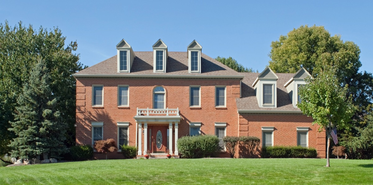 Colonial red brick house