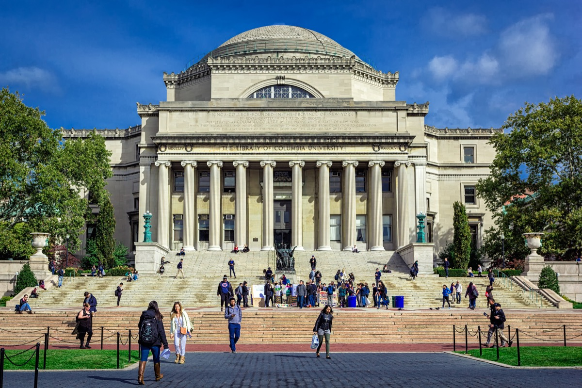NEW YORK, USA - OCTOBER, 2015: Columbia University Library buildings with columns and dome. - Image