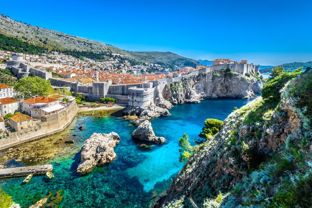 Aerial panoramic view at famous european travel destination, Dubrovnik cityscape on Adriatic Coast, Croatia. / Selective focus. - Image