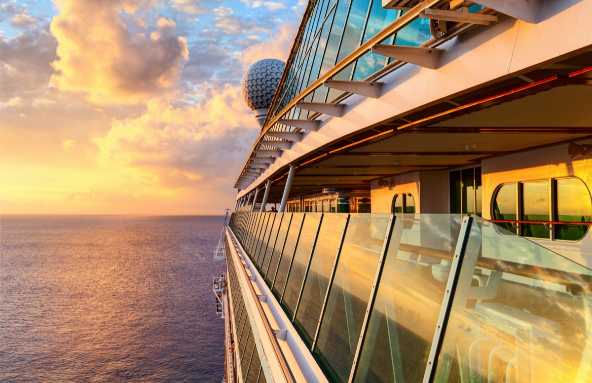 cruise deck during sunset
