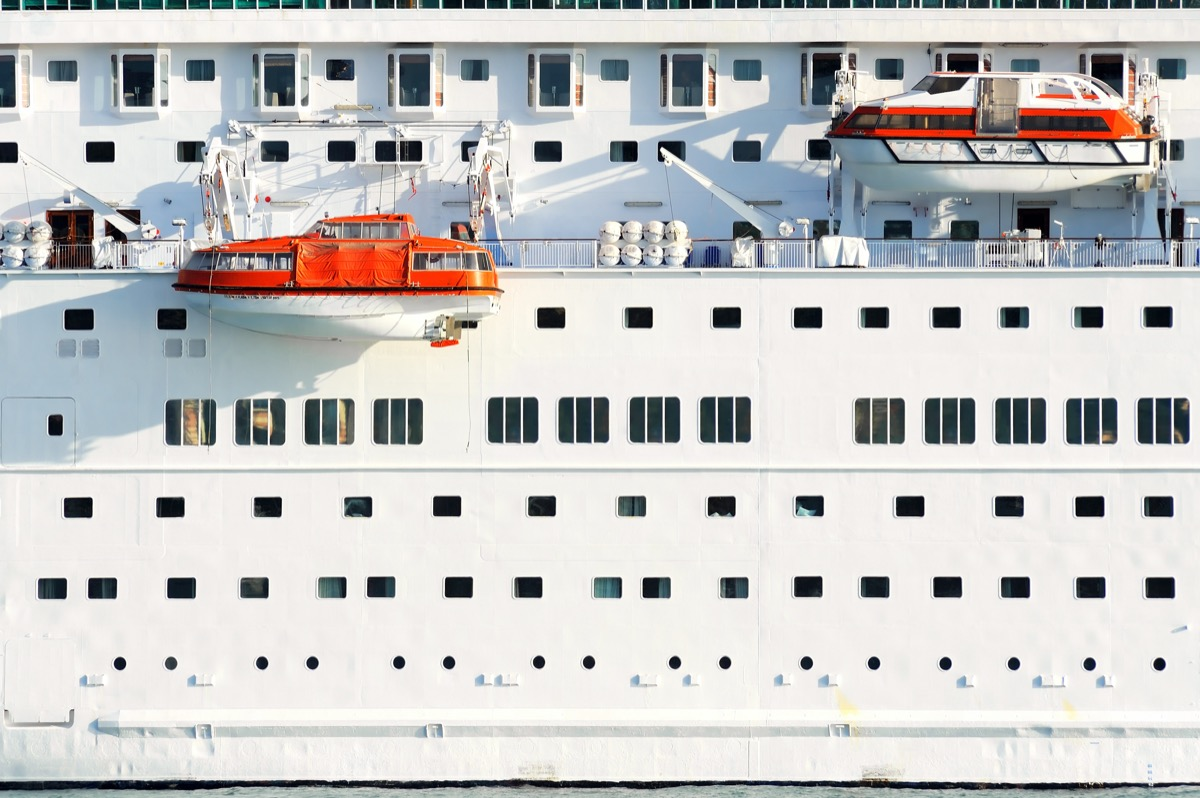cruise ship safety boats hanging on the side