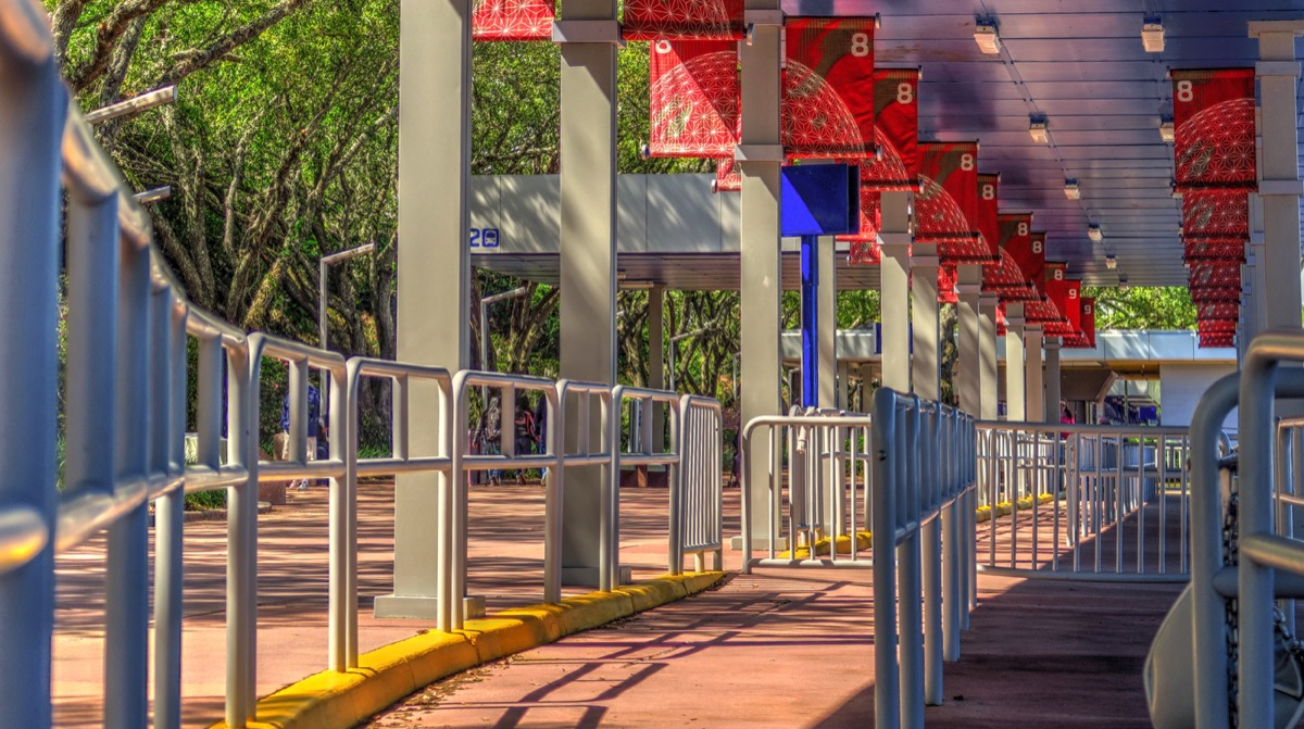 Orlando, Florida / United States - March 13, 2018: Standing Lanes Wrap Around Waiting Lines in the Busses Area at Disney World Amusement Park - Image
