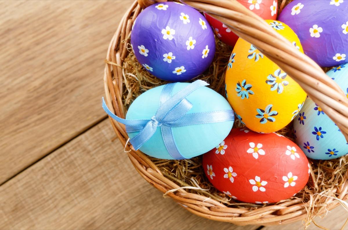 easter basket filled with easter eggs for swinging basket game