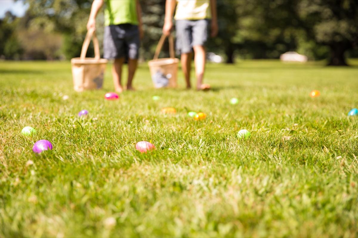 kids doing an easter egg hunt on Easter - best easter games