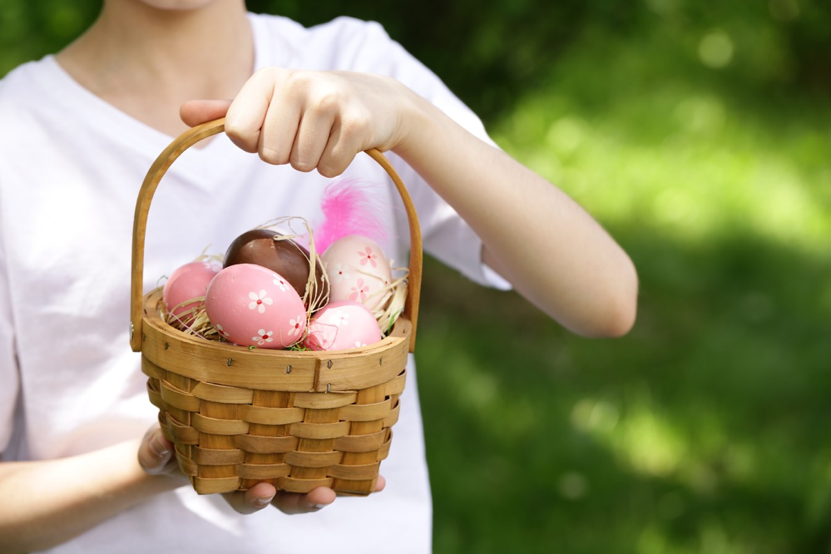 a bunch of easter eggs in a basket - best easter games
