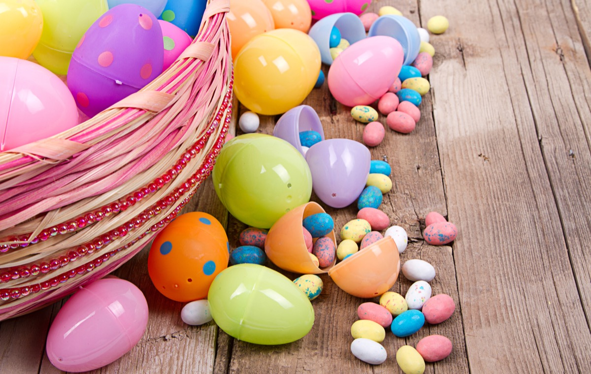 easter eggs with candies inside of them