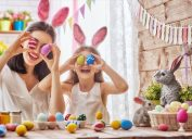 easter mother and daughter holding eggs - best easter games
