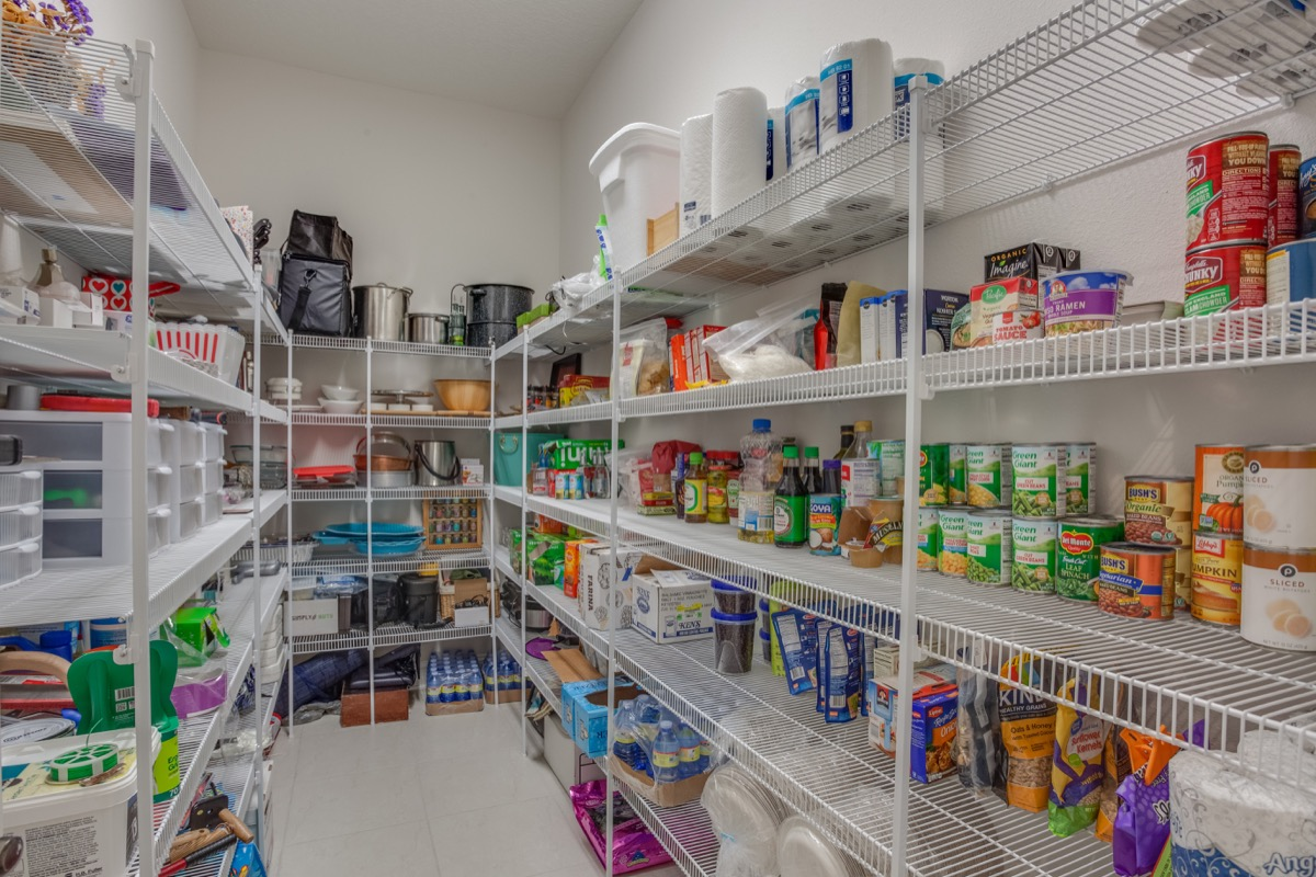 Rows of food in a neatly organized kitchen pantry