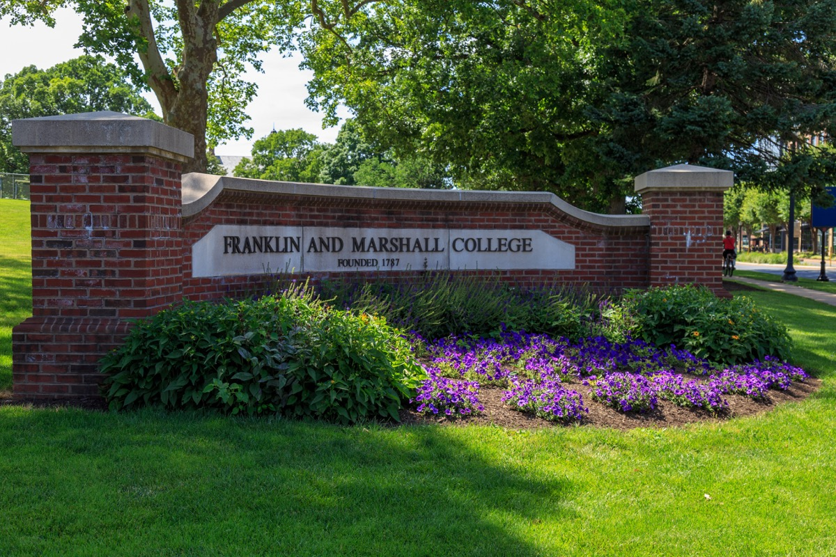 Lancaster, PA, USA - June 25, 2018: The Franklin and Marshall College sign at the school campus in a Lancaster City. - Image