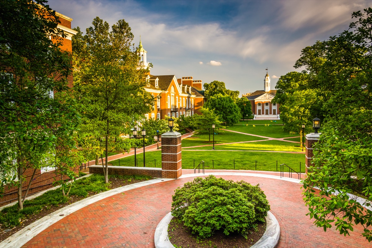 View of buildings at Johns Hopkins University in Baltimore, Maryland. - Image